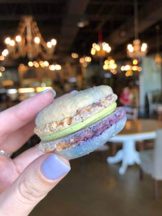 Blueberry Matcha Macaron