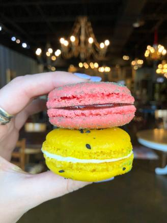 Strawberry Mint + Passion Fruit Macarons